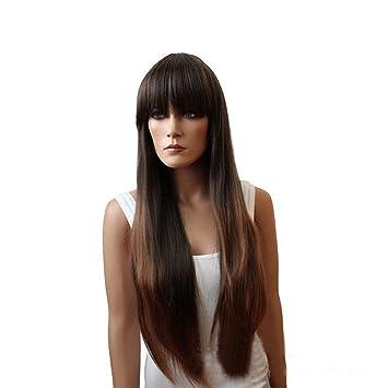 Meylee Pelucas Asia negro prolijo Flequillo peluca de pelo largo y recto