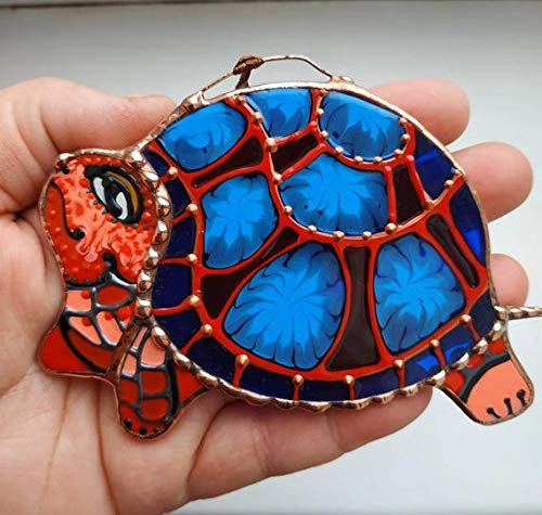 (Turtle Suncatcher, Tortoise Hanging ornament, Stained Glass Art, Sea Turtle Figurine, Animal glass Ornament, reptile decor, Housewarming Gift)