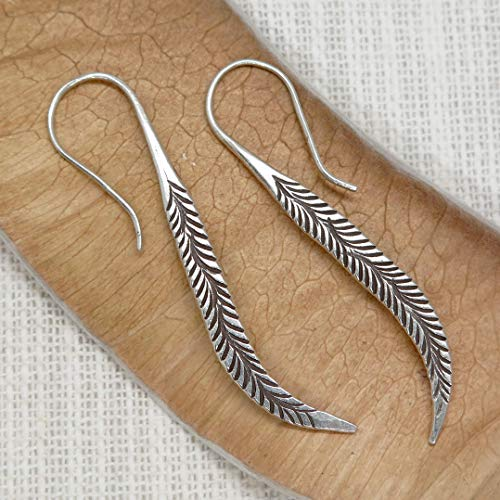 - Sterling Silver Long Feather Earrings, Handmade Oxidized Silver Tribal Spike Earrings