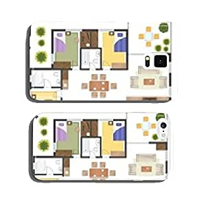 Colorful floor plan of a house. cell phone cover case iPhone5