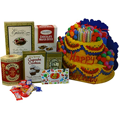 Happy Birthday Cake Gift Bag Tote of Sweets and Treats (Birthday Gift Baskets For Husband)