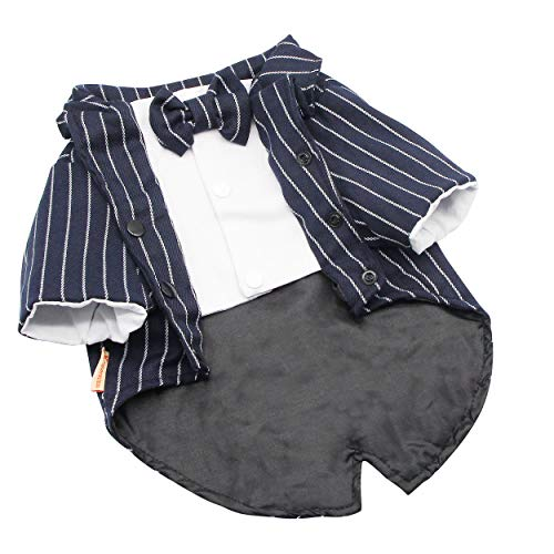 YAODHAOD Dog Fashion Suit Bow Tie Clothing, Wedding Shirt Navy Striped Suit, Dog Prince Wedding Bow Tie Suit -