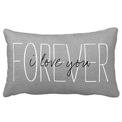home-decorative-polyester-pillow-case-rustic-gray-i-love-you-forever-pillow-cover-12-x-20-inches