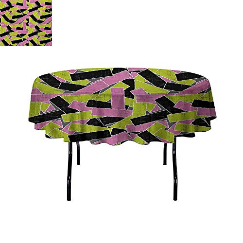 GloriaJohnson Grunge+Elastic+Edge+fit+Torn+Paper+Effect+Vivid+Stripes+Vintage+Inspired+Geometric+Pattern+Retro+Arrangement+Suitable+for+Most+Home+Decor+D47.2+Inch+Multicolor+