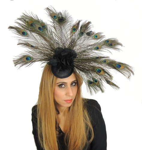 Zinnia Silk (Gorgeous Large Peacock Eyes Feathers Fan with Silk Flowers Zinnia Ascot/Derby Fascinator Hat - With Headband)