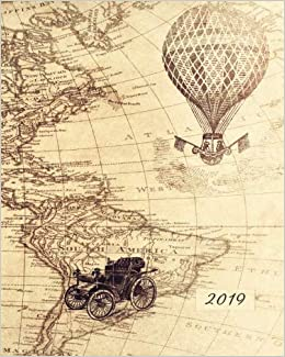 2019 Weekly & Monthly Vintage Antique Map: 12 Month Planner ...