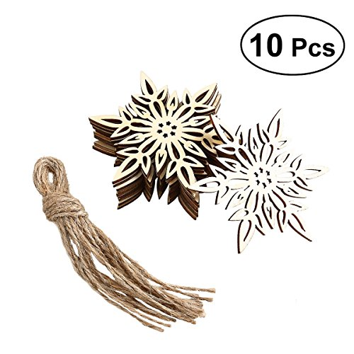 Tinksky 10pcs Christmas Decoration Snowflake Pattern Pendant Wooden Embellishments with String Gifts for Mothers Rustic Wooden Christmas Decorations