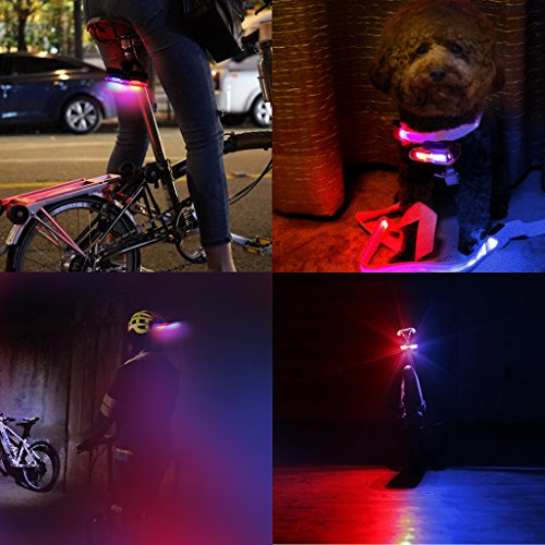 EFORCAR Bike Tail Light,USB Rechargeable LED Bicycle Rear Light with 3 Colors Light and 6 Lighting Modes Multipurpose Ultra Bright Waterproof Bike Warning Light for Riding by EFORCAR (Image #1)