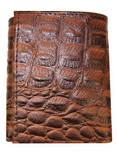 AG Wallets Genuine Leather Men's Crocodile Skin Embossed Trifold Wallet (Brown) ()