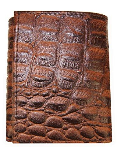 AG Wallets Genuine Leather Men's Crocodile Skin Embossed Trifold Wallet ()