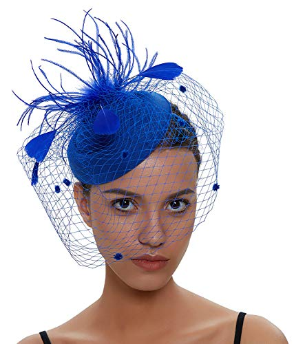 - Zivyes Fascinator Hats for Women Pillbox Hat with Veil Headband and a Forked Clip Tea Party Headwear (1-1-Blue)