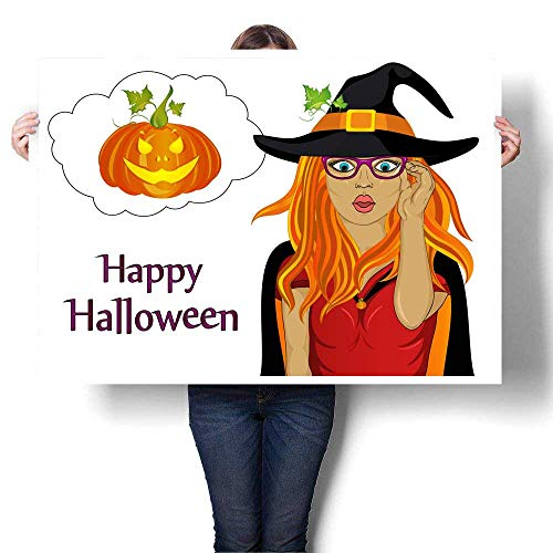 Canvas Wall Art Halloween The girl in the suit and the witch s hat is very surprised Wow Vector Greeting card for the holiday Empty thinking bubbl Decorative Fine Art canvas Print Poster K 48