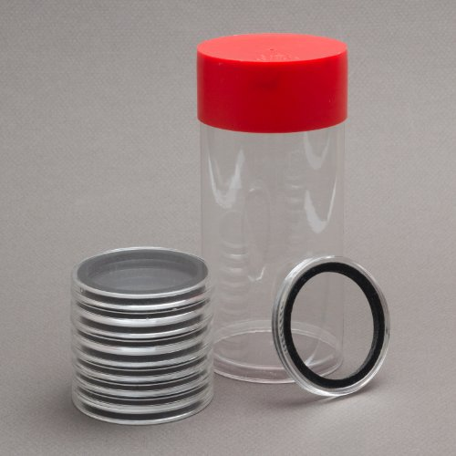 (1) Airtite Coin Holder Storage Container & (10) Black Ring 34mm Air-tite Coin Holder Capsules for 1/2oz Silver Maple Leafs ()