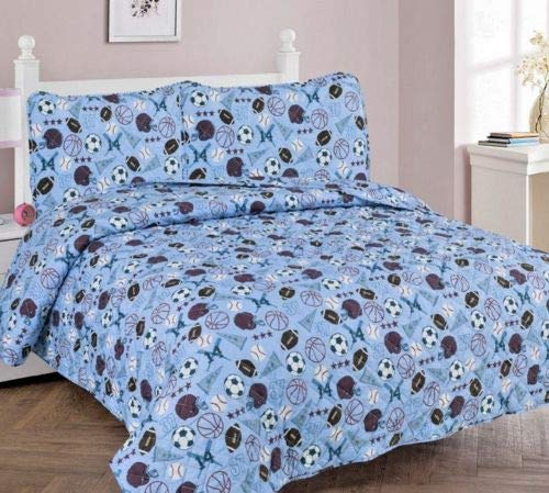 (Sapphire Home 3pc Bedspread Quilt Bedding Set Full Size for Kids Teens Boys, Sports Soccer Baseball Football Theme Style Bedspread, Blue Full Bedspread + 2 Pillow Shams)