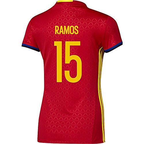 女の子応用発送Adidas RAMOS #15 Spain Women's Home Jersey UEFA FURO 2016 (Authentic name & number) /サッカーユニフォーム スペイン ホーム用 ラモス レディース向け