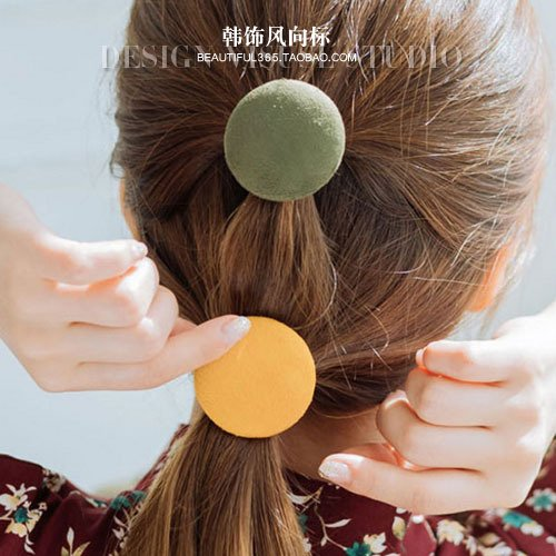 usongs Korea imported retro color macarons flannel licensing round wafer ponytail hair band rubber band hair rope (Flannel Retro Flowers)