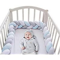 Wonder Space Soft Knot Plush Pillow - 2 Meters Baby Crib Bumper, Fashion Nursery Cradle Decor For Baby Toddler and Childern (Blue/Grey/White, 2 Meters)