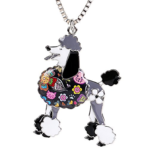 Poodle Jewelry (Poodle Gifts Jewelry for Dog Lovers Enamel Pets Dog Pendants Necklace Women's Keyring Design)