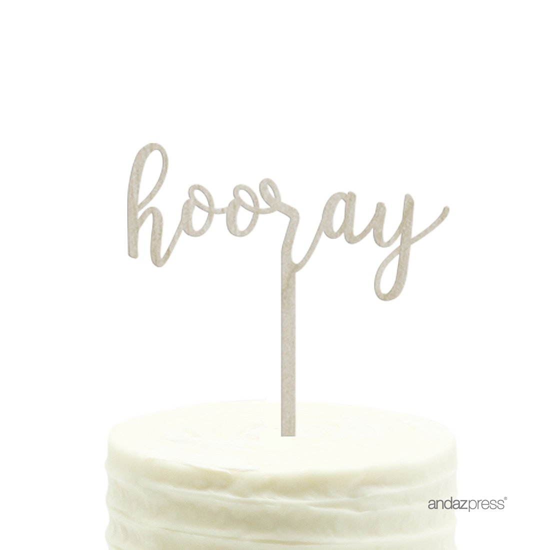 Andaz Press Party Wood Cake Toppers, Hooray, 1-Pack, High School College University Graduation Decor Decorations