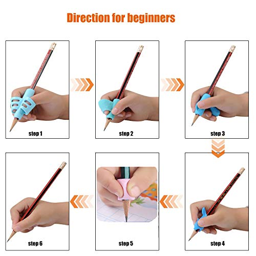 Pencil Writing Grips for Kids Handwriting 20 Pack Pencil Holder Utensils Pen Writing Aid Grip Posture Correction Tool with Comfortable Ergonomic Writing by Bomach (Image #7)