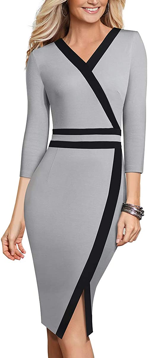 HOMEYEE Womens Slim Contrast Color Work Business Office Party Sheath Dress B563
