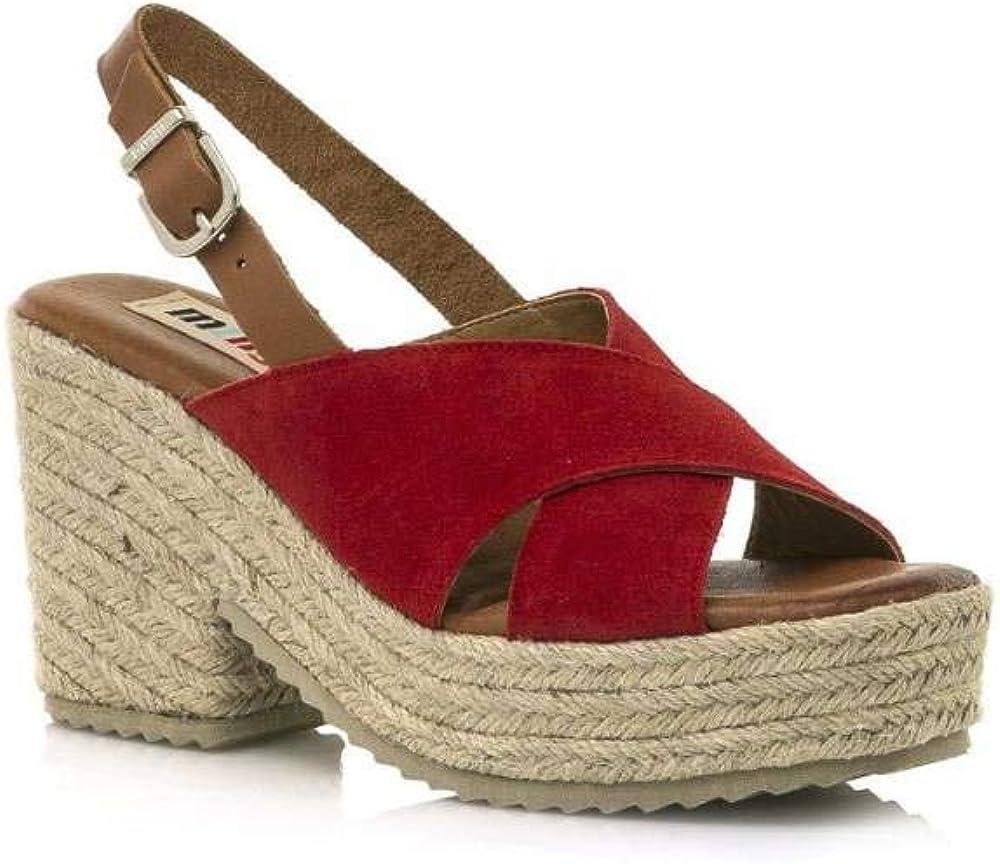 MUSTANG - Sandalia Tiras Cruzadas Cuero Color: Rojo