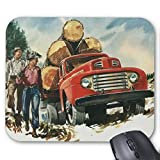 Zazzle Vintage Business, Logging Truck with Lumberjacks Mouse Pad