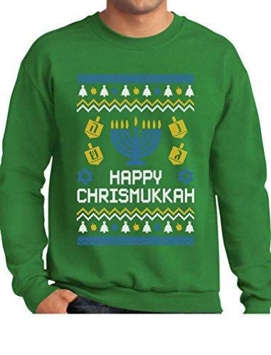 TeeStars - Happy Chrismukkah Xmas Hanukkah Ugly Christmas Sweatshirt Medium Green Jew Christmas Sweater