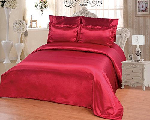 OctoRose 6 PCS Duvet Cover Set, Supreme Quality Sexy Silky Satin,1 Large Size Double heads Zipper Duvet Cover,1 Fitted Sheet, 2 Pillow cases, 2 Pillow Shams (Burgundy, Full)