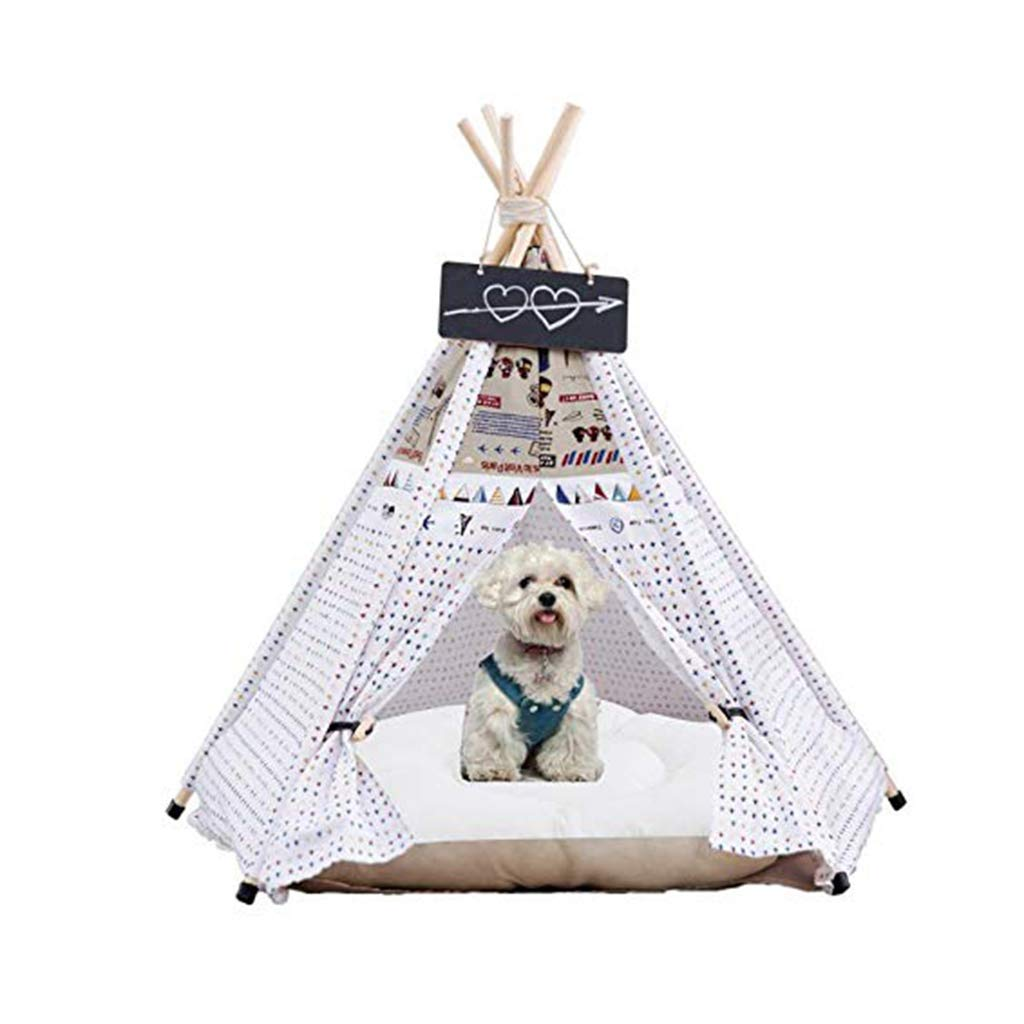 L PLDDY pet bed Pet Teepee tent Kennel Utility Villa Cat House Pet House Removable And Washable Cotton Solid Wood Pole Indoor and Outdoor Four Seasons Usable with Cushion, White (Size   L)