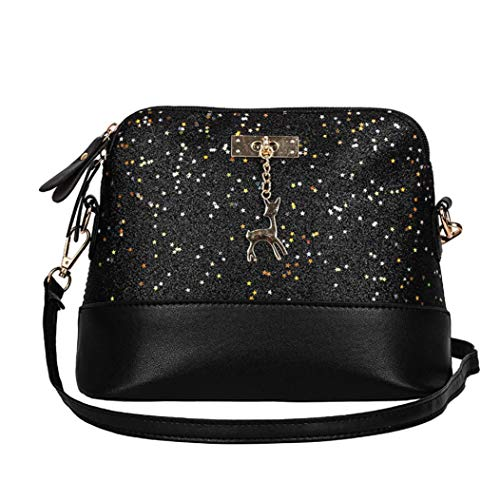 Deer Small Shoulder Bag Bags Womens Crossbody Kanpola Black Leather Messenger Sequins XF0HwYp