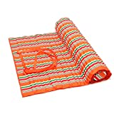 Nochim Single Beach Blanket Waterproof Portable Rolled Up Sleeping Mat with Pillow Comfortable Padded Outdoor Indoor Toddler Leisure Cushion
