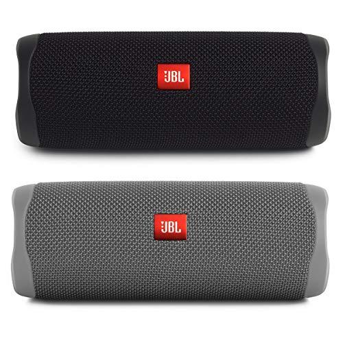 JBL Flip 5 Portable Waterproof Bluetooth Speakers - Pair (Black/Grey)