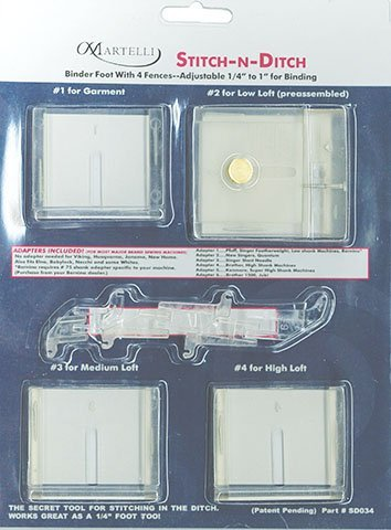 Martelli Stich-n-Ditch Binder Foot with 4 fences adjustable 1//4 to 1 for binding