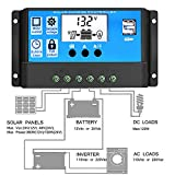 30A Solar Charge Controller, Y-SOLAR Solar Panel Controller PWM 12V/24V Auto Paremeter Adjustable LCD Display Solar Panel Battery Regulator with Dual USB Load Timer Setting ON/OFF Hours