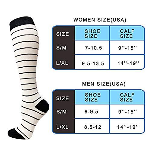 8 Pairs Compression Socks Women & Men -Best Medical,Nursing,Travel & Flight Socks-Running & Fitness-15-20mmHg (L/XL, Assorted 14)