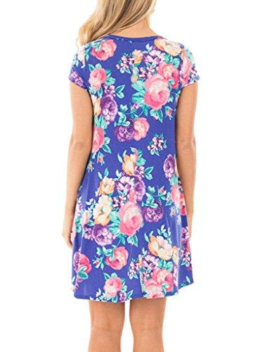 HOTAPEI-Womens-Floral-Print-Short-Sleeve-Casual-Loose-T-Shirt-Mini-Dress