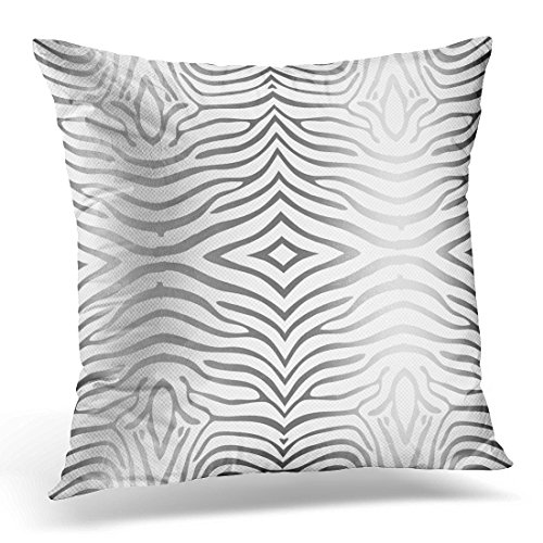 VANMI Throw Pillow Cover Animal Silver Gray and White Zebra Strioes Decorative Pillow Case Home Decor Square 18x18 Inches Pillowcase