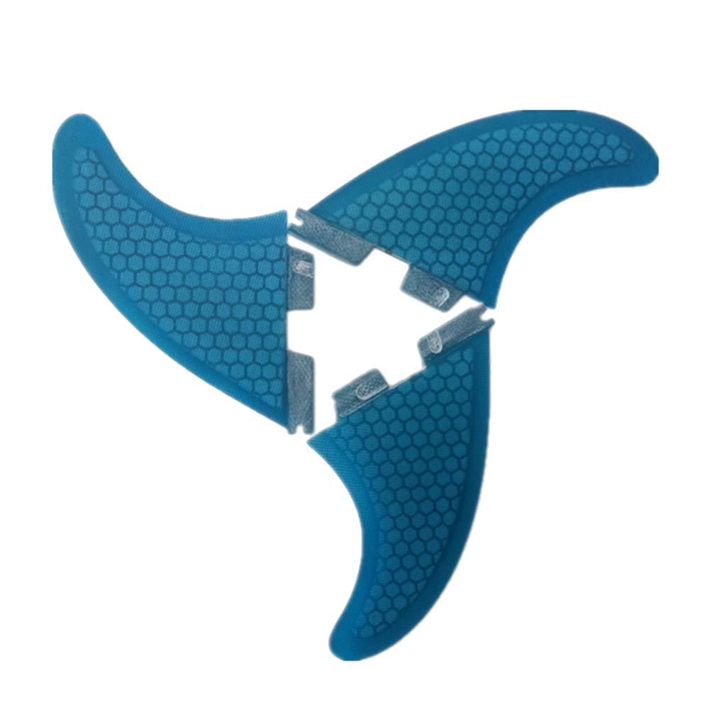 ONCEFIRST Fibreglass Surfboard Fins Base Surfing Thruster FCS II G5 (3 Fins) Blue M