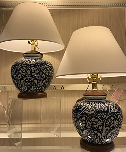 Porcelain Ginger Lamp Jar (Pair of Two (2), Ralph Lauren Round Ginger Jar Blue and White Floral Vine Porcelain Ceramic Traditional Table Lamps with Silk Shades)