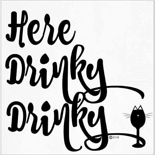 Funny Napkins - HERE DRINKY DRINKY- Boutique Cocktail Napkin, 5''X5'', Pack Of 20 Napkins For Parties And Entertaining by Twisted Wares