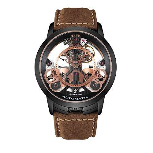 Mechanical Stainless Steel Wrist Watch - Huboler Men's Watch Skeleton Automatic Mechanical Stainless Steel Wrist Watches with Leather Strap (Model: 748) (Black Brown)