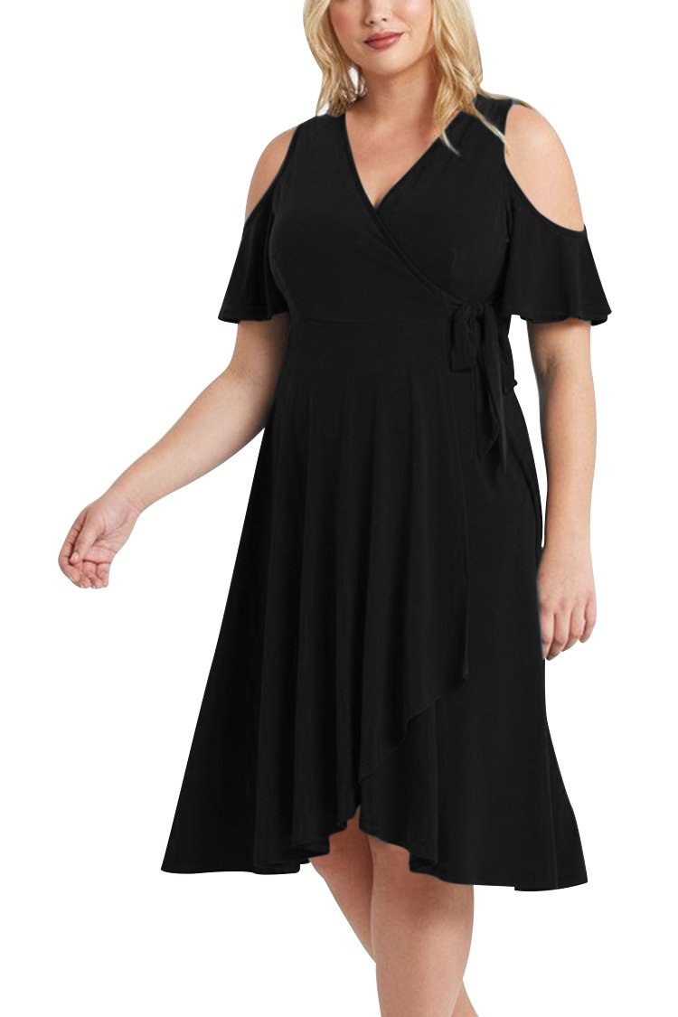LOV ANNY Women's Plus Size Cold The Shoulder Wrapped Knee Length Dress Black XL by LOV ANNY