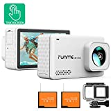 Runme R3 4K Action Camera Touch Screen 16MP Adjustable Wide Angle Waterproof Camcorder, Sports Camera with Accessories Kit & 2 Batteries (White)