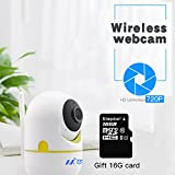 Wireless IP nanny camera WiFi Home Security Surveillance Camera with Dual antenna, strong sig for Baby /Elder/ Pet/Nanny Monitor, Pan/Tilt, Two-Way Audio & Night Vision(white,720p)