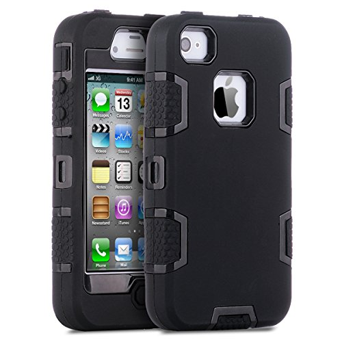 iPhone 4 Case,iPhone 4S Case,ULAK KNOX ARMOR Shockproof Heavy Duty Combo Hybrid Defender High Impact Body Rugged Hard PC & Silicone Case Protective Cover For Apple iPhone 4 4S (Black/Black)