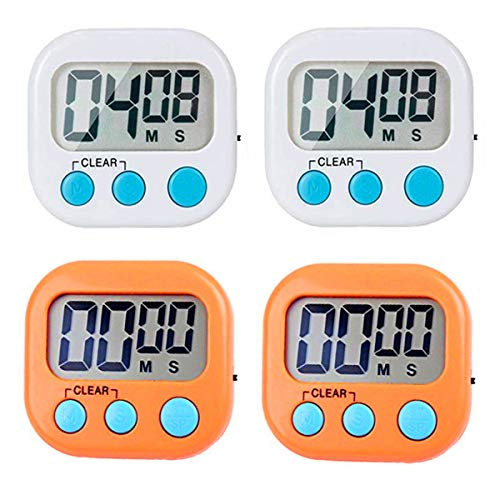 4 Pack Digital Kitchen Timer, Cooking Timers Clock, Strong Magnetic Electronic Countdown and Count up, Loud Alarm Small Size, ON/OFF Switch, Timer for kids Baking Game Exercise Teachers(White, Orange)