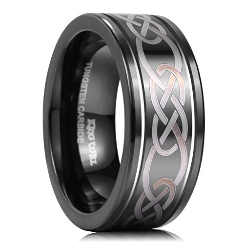 King Will Men's 8mm Black Groove Polished Tungsten Wedding Band Lasered Infinity Knot Celtic Knot Design(13) (Platinum Celtic Bands compare prices)