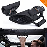 GPCA GP-Grip PRO Grab Handle for Jeep Wrangler JK JL Sports/Sahara/Freedom/Rubicon X Unlimited X 2DR/4DR 2007-2018 w/3'' padded roll bars (Universal to front & backseat) (Pair - BLACK on BLACK)