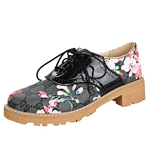Foot up Lace Floral Shoes Heel Charm Low Western Women's Black Oxfords qwaIIxBg